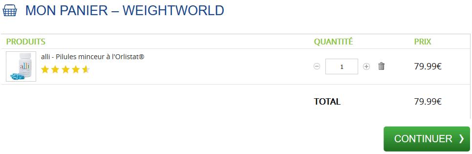 weightworld panier achat